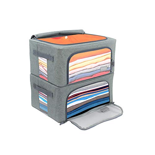 Plain to Personal 2-Pack Clear Full View Window Sturdy Stackable Storage Bins Foldable Metal Frame Double Zippered Access Reinforced Handles Solid Grey Small