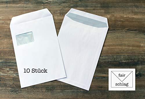 10 Briefumschläge - C4 - weiß mit grauem Innendruck - selbtklebend - mit Fenster