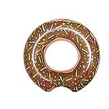XXL aufblasbarer Donut Schwimmring Braun in Premium Qualität   Schwimmreifen Schwimmring Donut Reifen Groß aufblasbar mit Biss   Ideal für den Pool für Kinder & Erwachsene   Badespaß garantiert