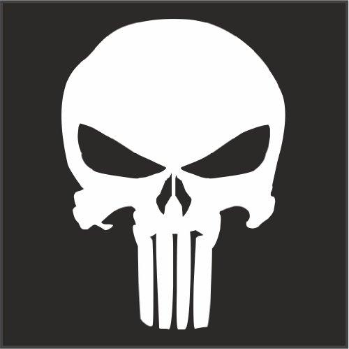 Punisher Logo Helmet Motorcycle Decal Sticker M1 3'x 2 1/4' Reflective White