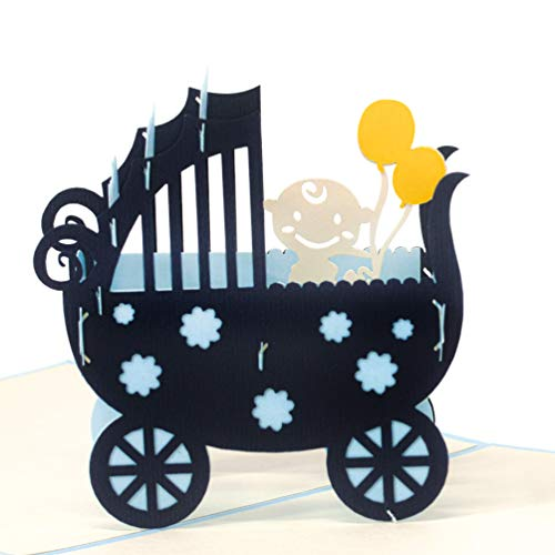 LIMAH Pop Up Glückwunschkarte für Jungen zur Geburt, Baby-Karte Geburtstagskarte für Neugeborene. Mit einem 3D Kinderwagen und Baby. Its a Boy (blau)