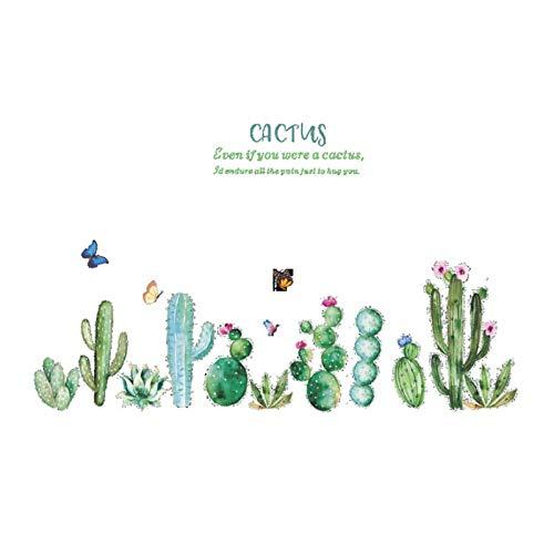 WANGHH Planta cactus etiqueta de la pared estilo Pastoral dormitorio sala de estar fondo decoración del hogar Mural zócalo pegatinas papel tapiz 118x70cm