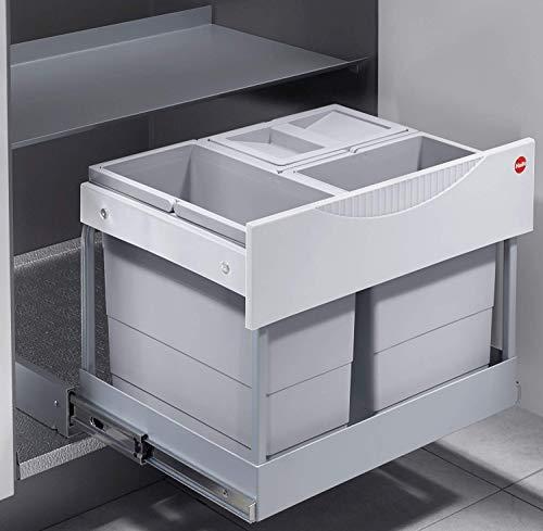 Hailo Raumspar Tandem S-Plus 1x12, 2x 8,5 Liter Küchen Mülleimer Ausfahrautomatik Abfalleimer