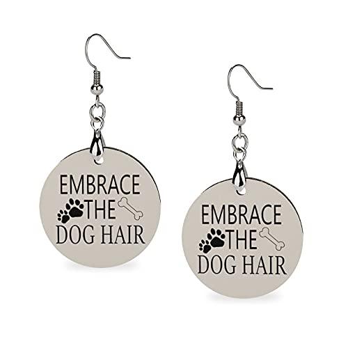 Boucles d'oreilles tendance d'été en bois léger - Boucles d'oreilles rondes pour femme et fille - Avec dictons drôles qui embrassent les poils de chien et les pattes