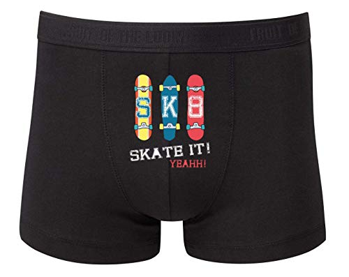 Druckerlebnis24 Boxershort - Skateboard Skaten Rollbrett Vintage - Unterhose für Herren und Männer
