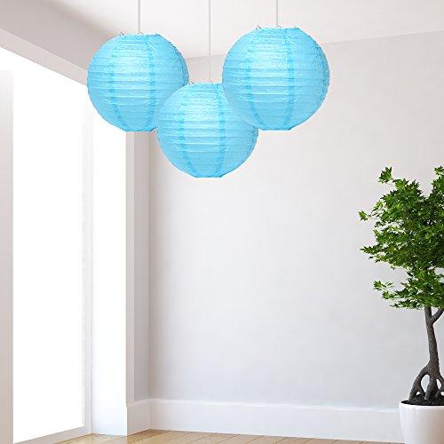 Medium Sky blauwe lantaarns Pack van 3