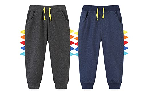 Qin.Orianna Boys 2Pack Dinosaur Cotton Pull On Jogger Pants Athletic Sport Sweatpants with Pockets