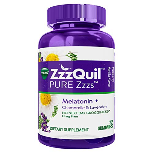 ZzzQuil Pure Zzzs Melatonin Sleep Aid Gummies, 72 ct, with Chamomile, Lavender and Valerian Root, Natural Flavor