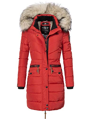Navahoo Damen Winter Mantel Steppmantel Paula (vegan hergestellt) Rot Gr. XL