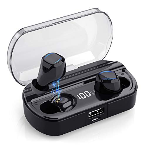 Yacikos Wireless Headphones, Bluetooth 5.0 Wireless Earphones 60H Playtime Stereo Sound in-Ear Bluetooth Earbuds with Mic, Easy-pair Touch Control with LCD Digital Display IPX7 Waterproof for Sport