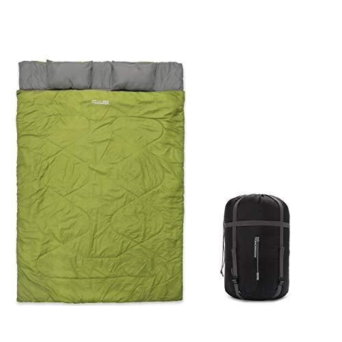 Lumaland Where Tomorrow Doppelschlafsack 190 x 150 cm - 2-Personen Schlafsack, Deckenschlafsack, Hüttenschlafsack - wasserabweisend, atmungsaktiv, 100 g/m² - für Reisen, Camping, Outdoor - Dunkelgrün