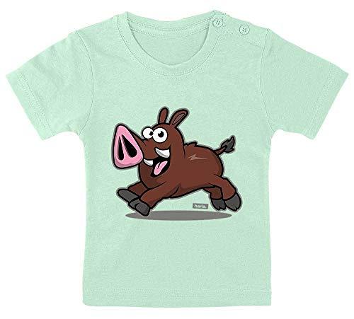HARIZ Baby T-Shirt Lustige Wildsau Tiere Zoo Inkl. Geschenk Karte Zahnpasta Grün 15-24 Monate / 80-92cm
