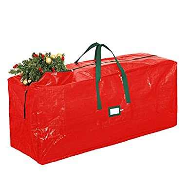 Zober Christmas Tree Storage Bag - Artificial Up to 7' Christmas Tree Organizer for Un-Assembled Trees, with Sleek Zipper - Also Accommodates Holiday Inflatables | 48 L 20 W 15 D (Red)