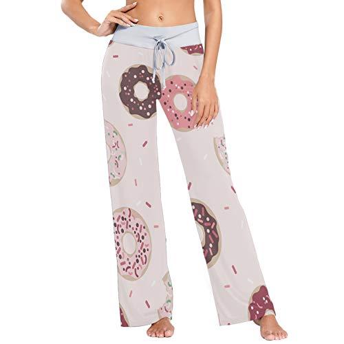Pantalones de Pijama para Mujer Pantalones de Dormir Pantalones Largos atléticos de Pierna Ancha Donuts Gráfico de Patrones sin Fisuras