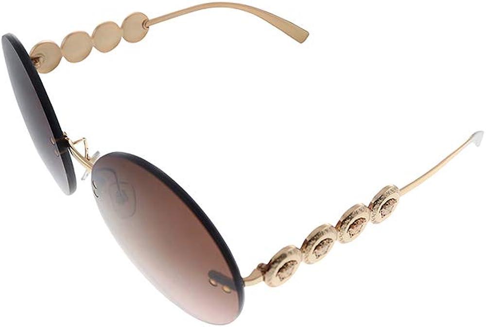 Versace, occhiali da sole per donna, rotondi senza montatura, con ponte, aste con medaglioni medusa 0VE2214