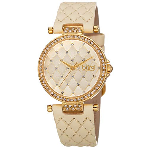 Burgi Swarovski Encrusted Crystals Women's Watch - Sparkled Swirl on Mother of Pearl Dial – A Diamond Marker on Genuine Leather Strap - BUR154