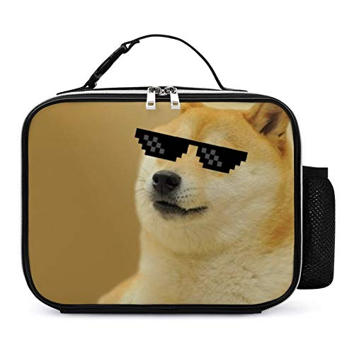 Funny Sunglsses Cool Doge Lunch Box with Padded Liner, Spacious Insulated Lunch Bag, Durable Thermal Lunch Cooler Pack for Boys Men Women Girls Adults