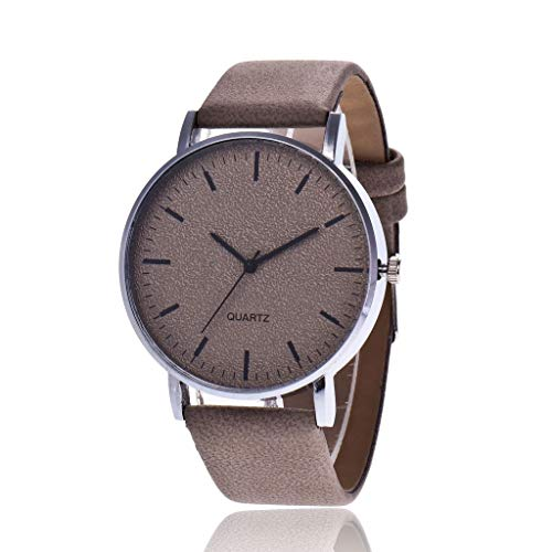 HBR Reloj Reloj de Pulsera señoras Reloj analógico señoras de la Correa del Reloj de Cuarzo de Cuero de los Hombres Accesorios de Moda (Color : Dark Brown)