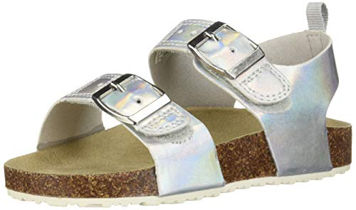 carter's Girl's Duncan Metallic Buckle Strap Sandal, Silver, 8 M US Toddler