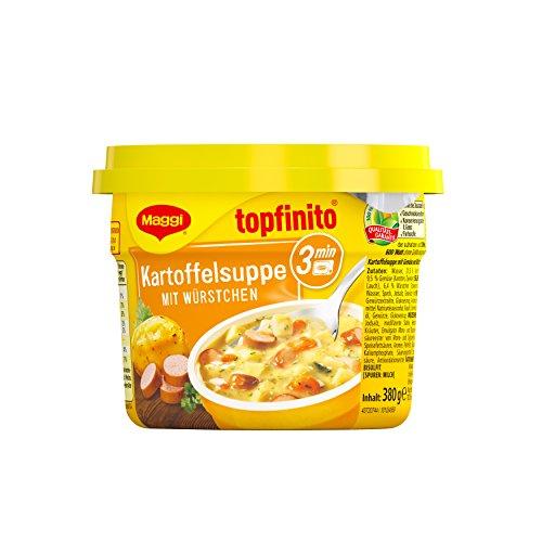 Maggi Topfinito Kartoffelsuppe mit Würstchen, fertige Kartoffelsuppe mit Fleisch & Gemüse, für die Mikrowelle, deftiger Klassiker, 1er Pack (1 x 380g)