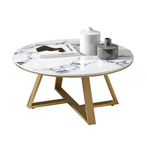 GSH- Side table Elegante Mesa de Centro Redonda, mármol Natural, Base de Metal, 60 / 80x45cm Mesa de Acento Resistente