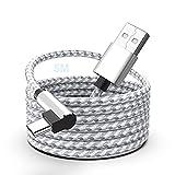 Cable MTAKYI USB C 3A 90 Grados Tipo C Cable De Carga Rápida QC 3.0 Es Compatible Con Galaxy S10 S9 Plus/Samsung Note10 S20 Huawei P40 / P30 Moto G7 Hero 7 Redmi Note 8/7 HTC (5M)