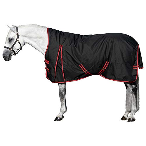 STORM SHIELD Extreme High Neck Turnout Horse Blanket | Heavyweight - 380 Grams | Size 74 - Black | 1680 Denier | Contour Collar | Criss-Cross Surcingle | Waterproof, Windproof & Breathable
