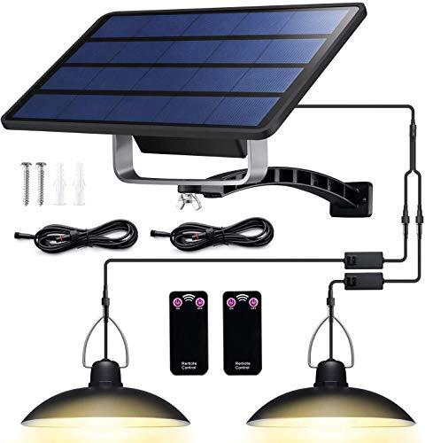 Solarleuchten für Außen Innen - Solar Hängeleuchte Retro Solarlampe mit Fernbedienung & 3M Kabel Solar Pendelleuchte für Garten Balkon Garage, IP65 Wasserdichte (32LED - Warmes Licht)
