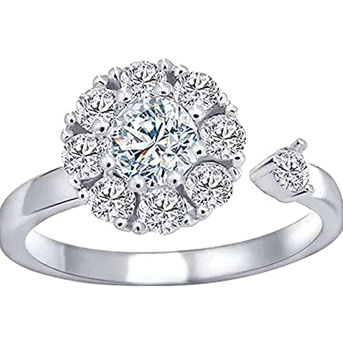 chaosong shop Anillo de boda para mujer, anillo de apertura de diamante, regalo de cumpleaños y Navidad
