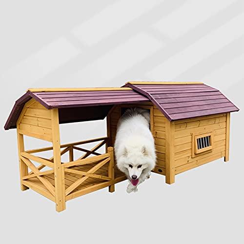 DHYBDZ Casa de Madera para Perros Grande de Lujo elevada con Porche, Refugio de Perrera Resistente al Agua al Aire Libre para Perros pequeños a...