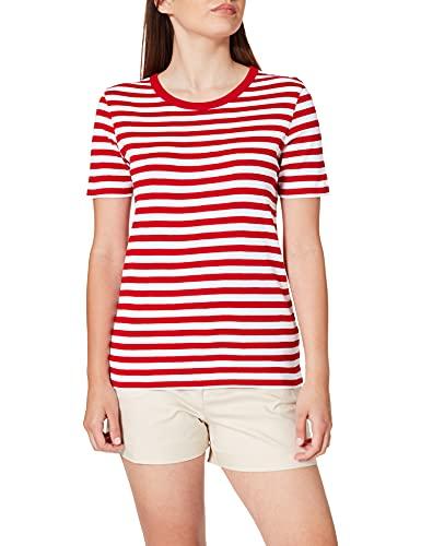 United Colors of Benetton T-Shirt 3OA6E16A0 Camiseta, Rayas Rojo E Blanco 615, M para Mujer