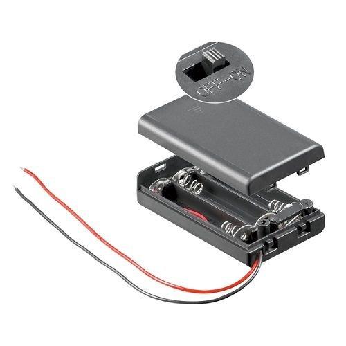 CABLEPELADO Portapilas para 3 Pilas LR3 AAA con Interruptor Negro