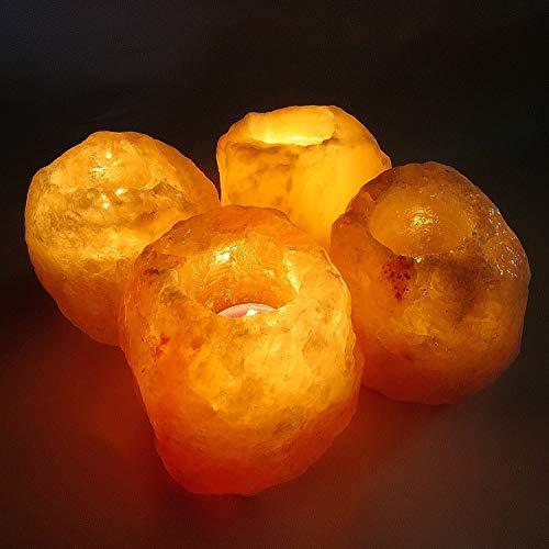 Klass Home Collection - Portacandele per Candele, Set da 1, 2 o 4, 100% Sale dell'Himalaya Importato dal Pakistan (Set da 4), Cristallo, Rosa Caldo e Arancione