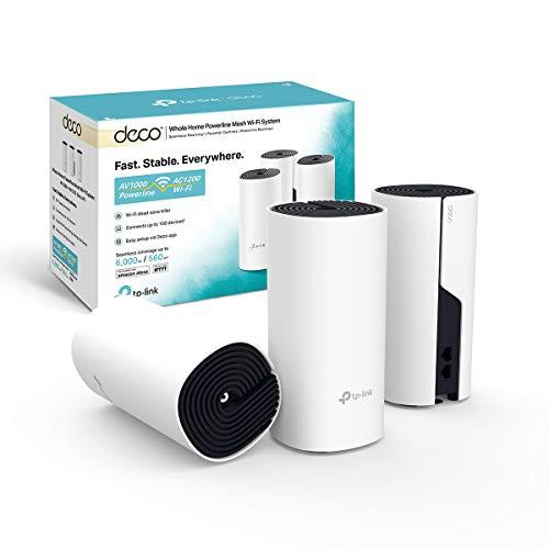 TP-Link Deco P9 (3-Pack) - Híbrido Wi-Fi de Malla para Todo el hogar con Powerline Backhaul, Ideal para Paredes Gruesas, Cobertura de hasta 560㎡, Compatible con Alexa, Controles parentales.