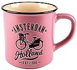 Matix Amsterdam Holland - Tazza in ceramica, 10 cm, 300 ml, colore: Rosa/Nero