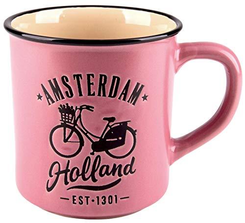Matix Amsterdam Holland - Taza (cerámica, 10 cm, 300 ml), color rosa y negro