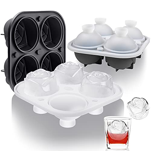 Ice Cube Tray, Polegas Rose Ice Cube Maker - 2 Pack Large 2.5'' Rose Shaped Ice Cubes Silicone 4 Cavity Rose Ice Ball Maker Easy Release for Chilling Whiskey, Cocktail, Bourbon Homemade (Black & Gray)