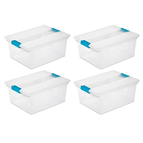 Sterilite 19658604 Deep Clip Box, Clear with Blue Aquarium Latches, 4-Pack