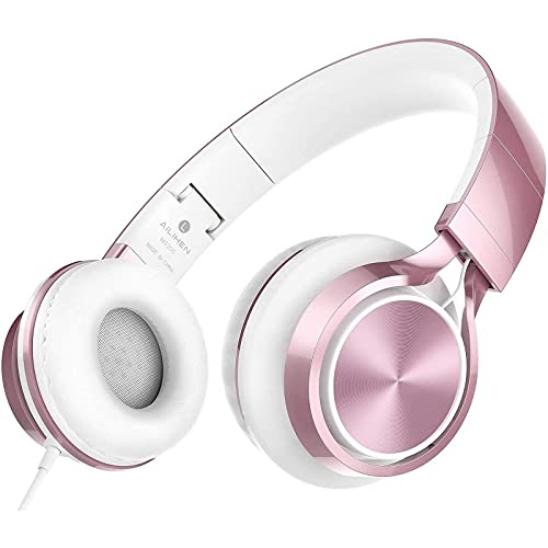 AILIHEN MS300 Wired Headphones with Microphone Folding Lightweight Headset for Cellphones Tablets Smartphones Chromebook Laptop Computer Zoom Skype Mp3/4(Rose Gold) (Renewed)
