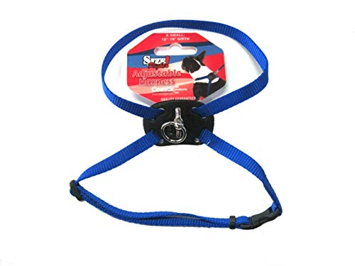 Size Right Adjustable Dog Harness Blue 12 to 18 Inches Girth with a Width of 3/8 in.