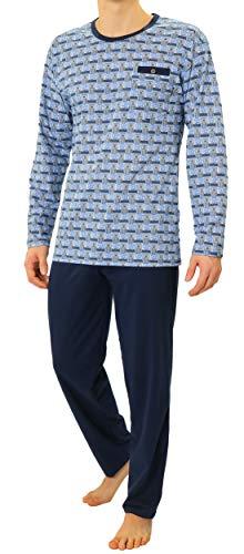 Sesto Senso Herren Schlafanzug Lang Pyjama 100{289cfeb58ffddba1adff4c3110c23a1e385715dbe5deb3655350951deaef375d} Baumwolle Langarm Shirt mit Tasche Pyjamahose Zweiteilig Set Nachtwäsche Blau Muster Dunkelblau Navy blau XXL 01 Granat
