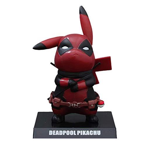 Deadpool Cosplay Pikachu Actionfigur Statue Modell PVC Material Höhe ca. 14 cm
