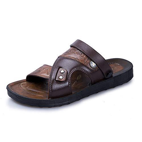 HHF Plano Sandalias y Zapatillas, Sandalias de Moda para Hombre, Slip On Style, Microfibra, Piel, Personalidad, Costura, Doble propósito, Zapatillas