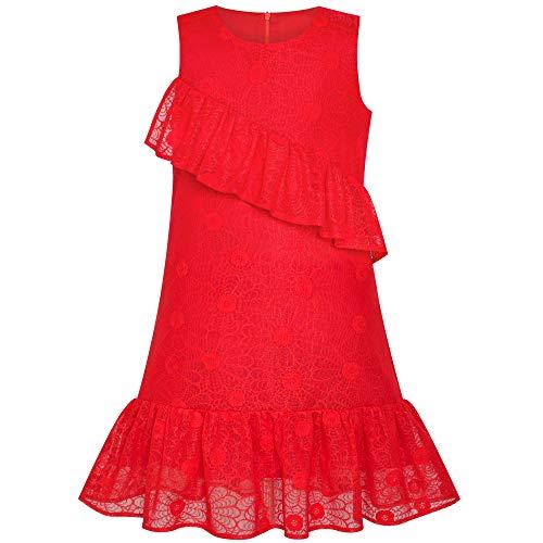 Sunny Fashion Robe Fille A-Ligne Rouge Dentelle Ébouriffer Jupe Anniversaire Partie 10 Ans