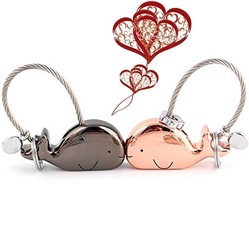 Topeedy Liebhaber schlüsselanhänger 1 Paar küssen Wal schlüssel Anhänger mit magnetischen Mund Zink Legierung Schlüsselbund Geschenk für Valentines, Weihnachten, Freundin, Rotgold und glänzend schwarz