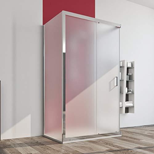 Box doccia cabina 3 tre lati 80x140x80 cm porta scorrevole vetro cristallo anticalcare opaco 6mm. Palma