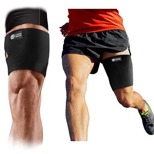 Copper Compression Hamstring and Thigh Sleeve for Men + Women. Guaranteed Highest Copper Upper Leg Brace for Sore Hamstrings, Groin, Legs, Thighs, Quad Support. Fully Adjustable Wrap, Sleeves