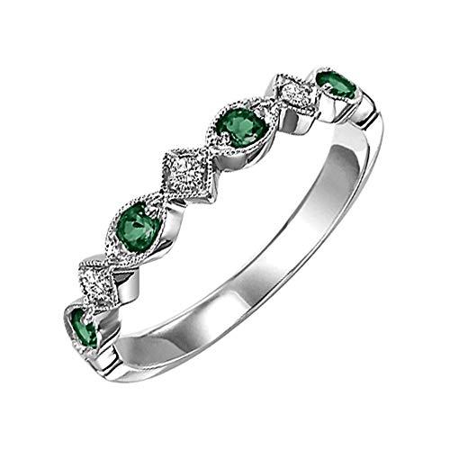 SENSIONE 925 sterling zilver met groene smaragd en 0,11 karaat zirkonia verlovingsring voor vrouwen