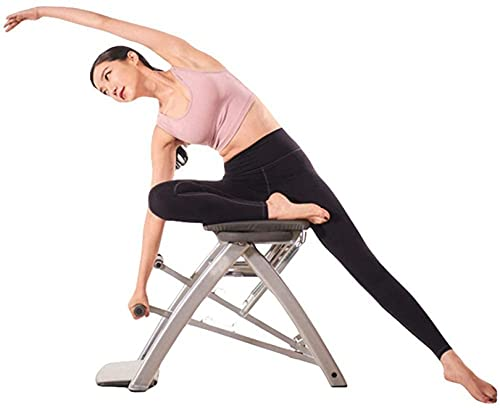 WWJ LY Silla de Ayuda para Yoga Pilates Iyengar, Taburete de construcción de Fuerza Central multifunción Plegable Ajustable para el hogar, 4 Formas de Hacer Ejercicio, Gimnasio en casa