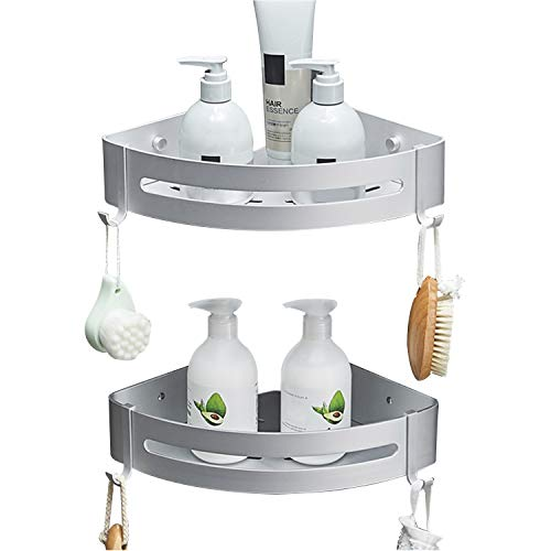SEVENS No Drilling 2 Tiers Bathroom Corner Shelf Organizer for Shower Kitchen Storage Durable Space Aluminum Shower Caddy with Removable Hooks